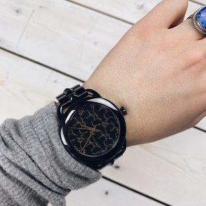 Karl Lagerfeld | Gold Profile Logo Black Watch